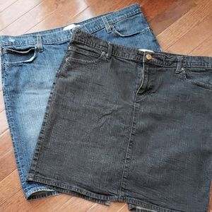 Lot of 2 Old Navy Denim Jean Skirts Size 16